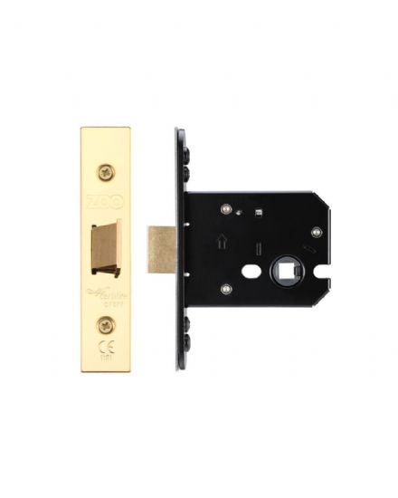 Zoo Hardware ZUKF76PVD Flat Mortice Latch 76mm PVD Brass